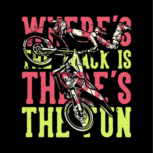 T-shirt design slogan typografia gdzie jest tor, tam jest zabawa