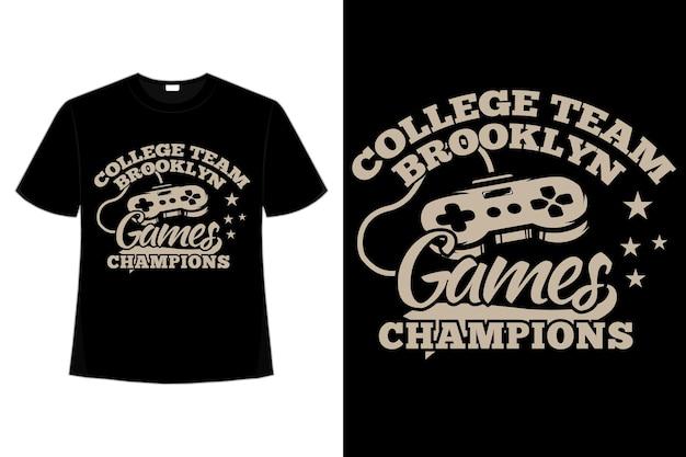 T-shirt do gier mistrzów konsoli brooklyn typografia w stylu retro vintage