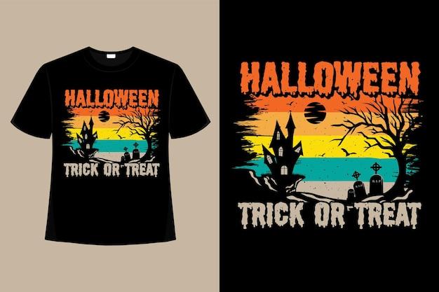 T-shirt halloween cukierek albo psikus drzewo retro vintage ilustracja