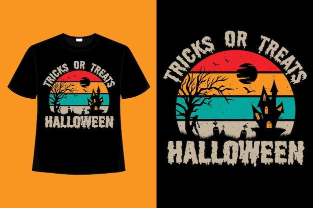 T-shirt halloweenowe sztuczki lub smakołyki retro vintage ilustracja