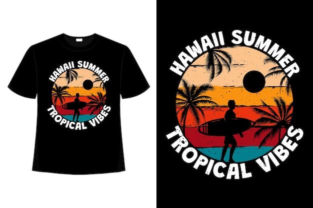 T-shirt hawaje lato tropikalne wibracje surf plaża kolor palm w stylu retro vintage vintage