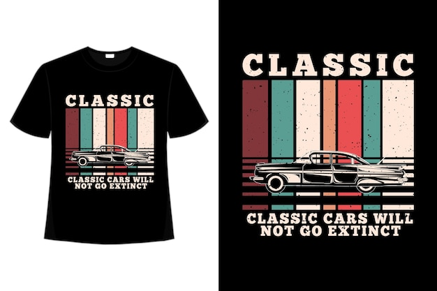 T-shirt klasyczne samochody wymarłe w stylu retro