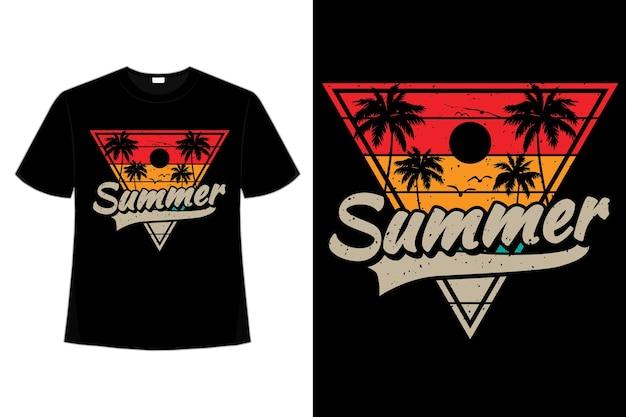 T-shirt lato plaża kolor palmy w stylu retro vintage