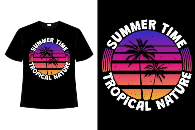 T-shirt lato tropikalna natura kolor palmy w stylu retro vintage