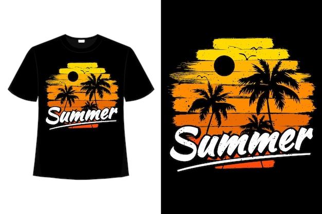 T-shirt lato zachód słońca niebo kolor pędzla w stylu retro vintage vintage
