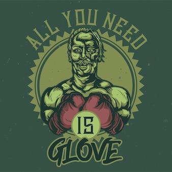 T-shirt lub plakat z ilustracją posiniaczonego boksera