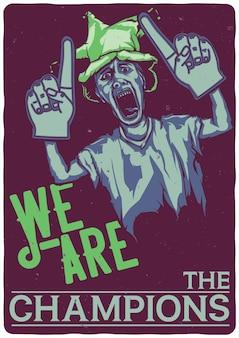 T-shirt lub plakat z ilustracją przedstawiającą fan piłki nożnej