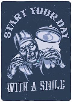 T-shirt lub plakat z ilustracją przerażającego dentysty
