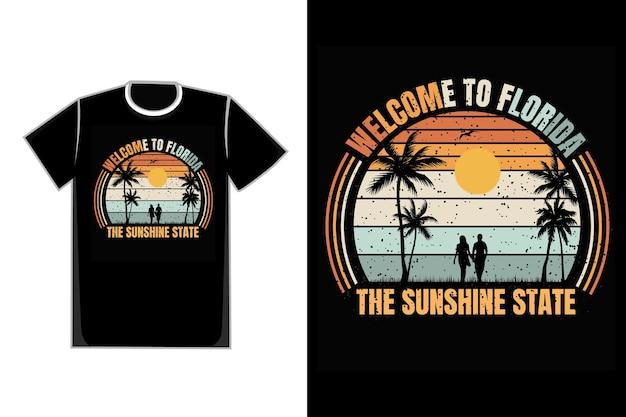 T-shirt ludzie idą na plażę tytuł witamy na florydzie w słonecznym stanie