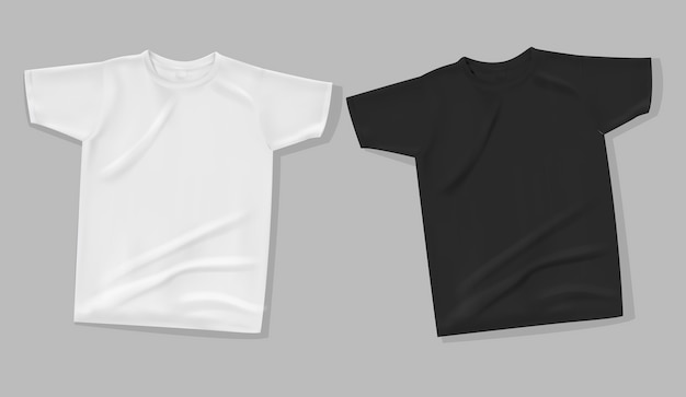 T-shirt makiety na szarym tle.