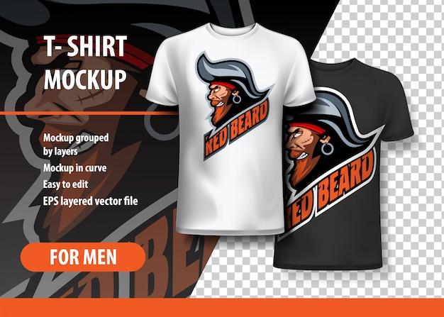 T-shirt mockup with pirate side head, w pełni edytowalny.