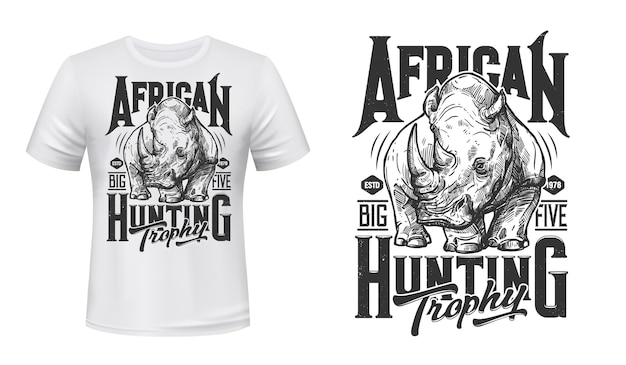 T-shirt myśliwski afrykańskiego nosorożca z nadrukiem maskotki nosorożca