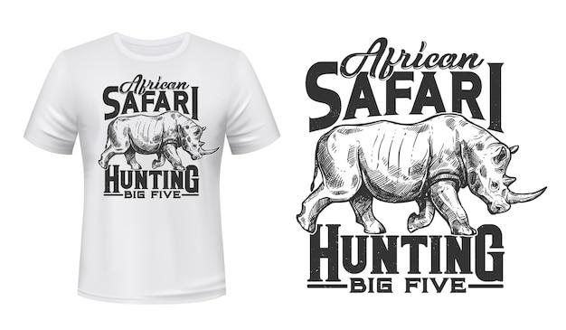 T-shirt myśliwski safari z nadrukiem z grawerowaną ilustracją nosorożca