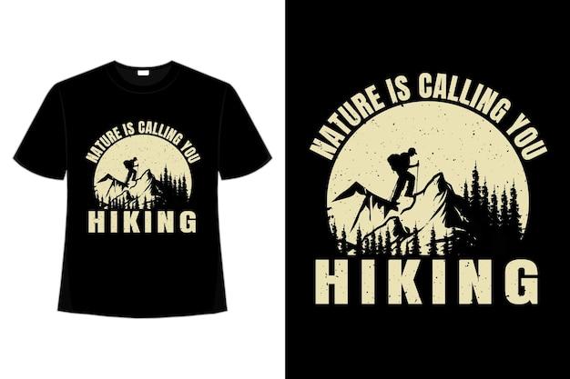 T-shirt na wędrówki natura sosna alpinista vintage