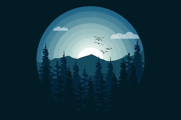 T-shirt natura dżungla góra noc piękna ilustracja w stylu
