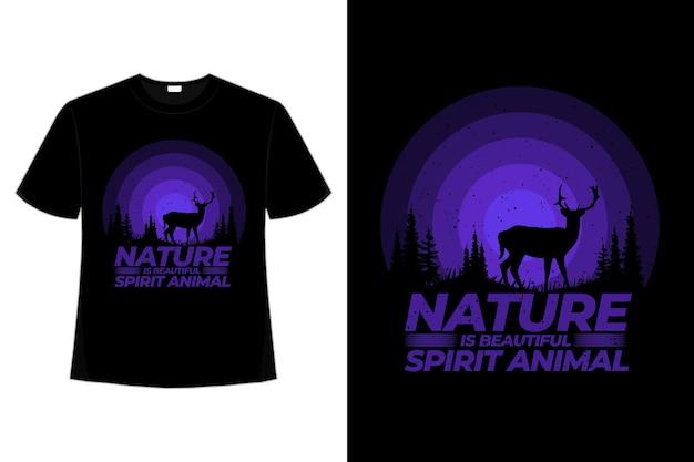 T-shirt natura jeleń zwierzę sosna piękna