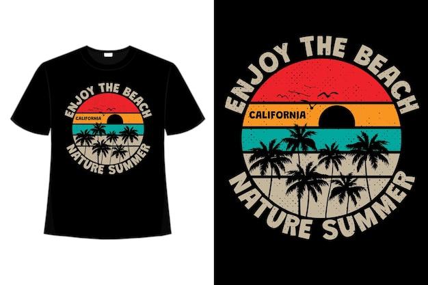 T-shirt natura lato palma zachód słońca kolor retro styl vintage