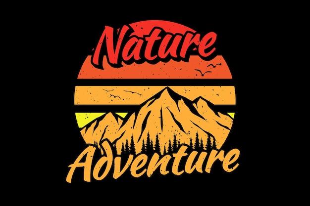 T-shirt Natura Przygoda Góra Retro Vintage Ilustracja Premium Wektorów