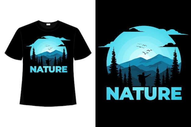 T-shirt natura sosna przygoda góra ręcznie rysowane stylu vintage ilustracji
