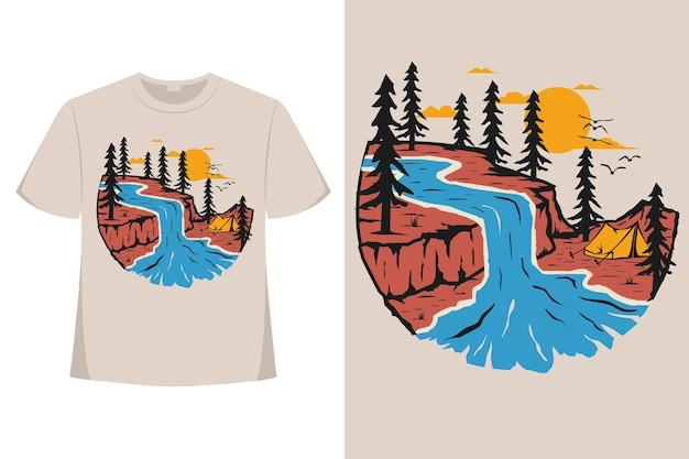 T-shirt natura sosna styl przygodowy ręcznie rysowane vintage ilustracji
