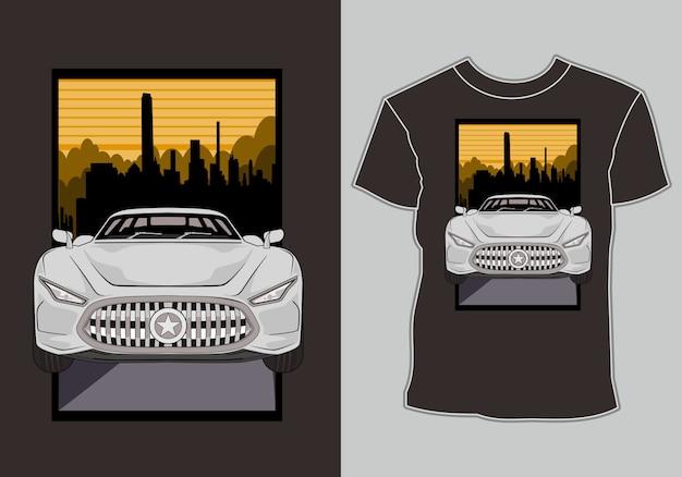 T shirt, nowoczesny samochód sportowy w ilustracji miasta