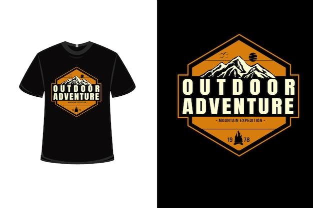 T-shirt outdoorowy przygoda górska wyprawa w kolorze żółto-kremowym
