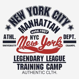 T-shirt pieczęć grafika, new york sport wear typografia godło manhattan vintage tee print, sportowy projekt odzieży koszula graficzny nadruk. wektor