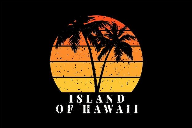 T-shirt plaża sylwetka drzewo kokosowe wyspa hawaje