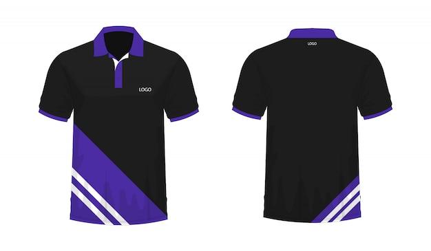 T-shirt polo fioletowy i czarny szablon dla projektu.