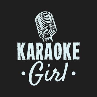 T shirt projekt dziewczyna karaoke z mikrofonem i szarym tle vintage ilustracji