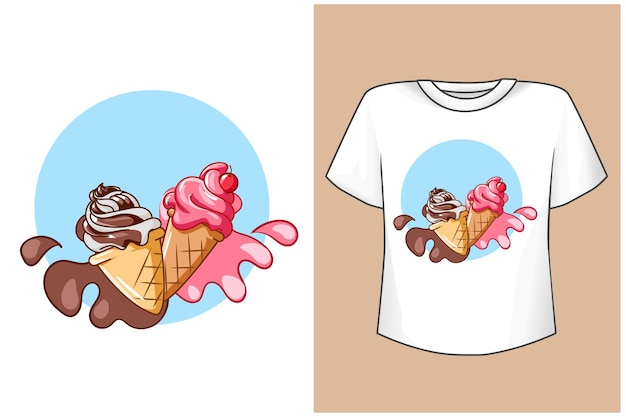 T shirt projekt makieta lody ilustracja kreskówka