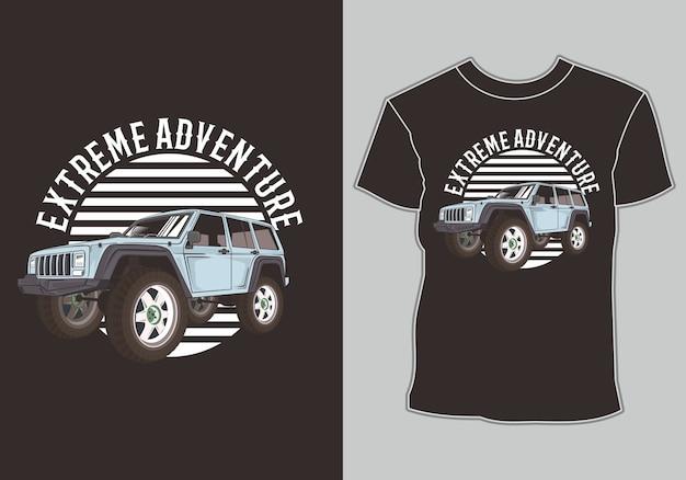 T-shirt przygodowy samochód