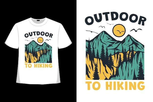 T-shirt retro na zewnątrz górskie wędrówki las natura styl vintage ręcznie rysowane