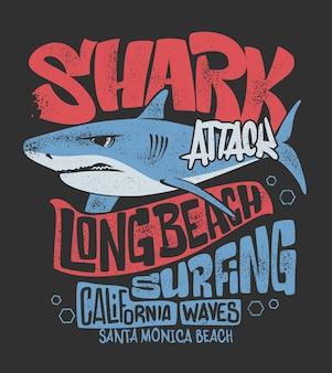 T-shirt shark z nadrukiem surfingu, ilustracja.