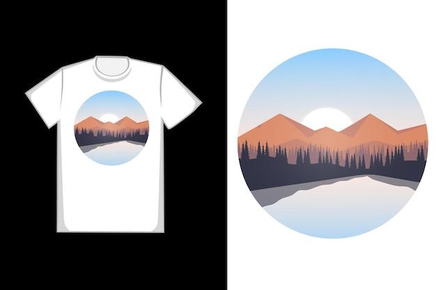 T-shirt sosnowe jezioro rano