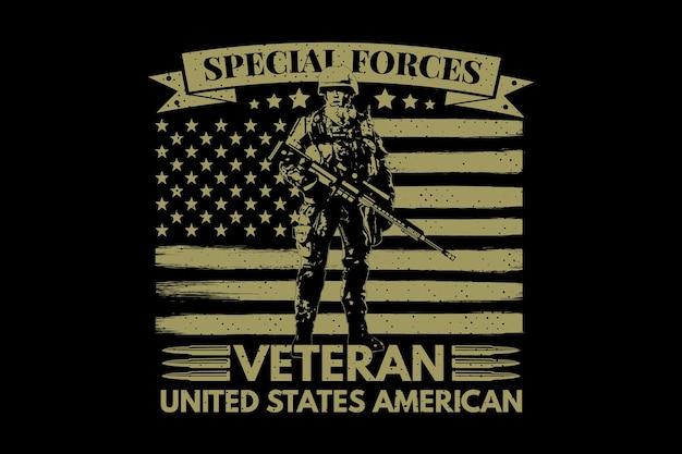 T-shirt specjalny żołnierz weteran flagi amerykańskiej typografii retro vintage ilustracji