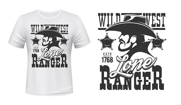 T-shirt strażnika z nadrukiem przedstawiającym kowboja z dzikiego zachodu i naszywkę szeryfa