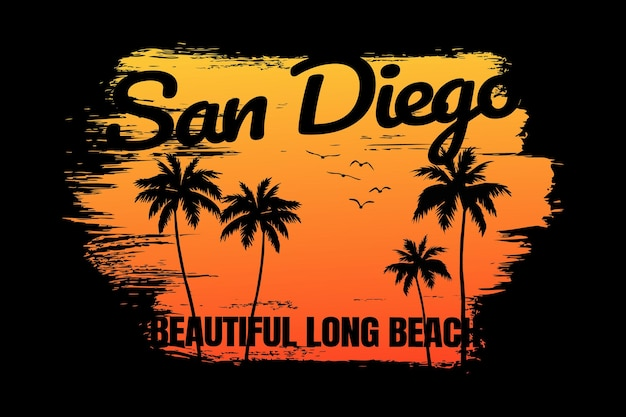 T-shirt sunset beach san diego piękny styl retroego