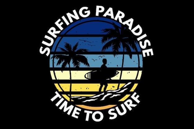T-shirt surfing raj czas palma retro vintage ilustracja