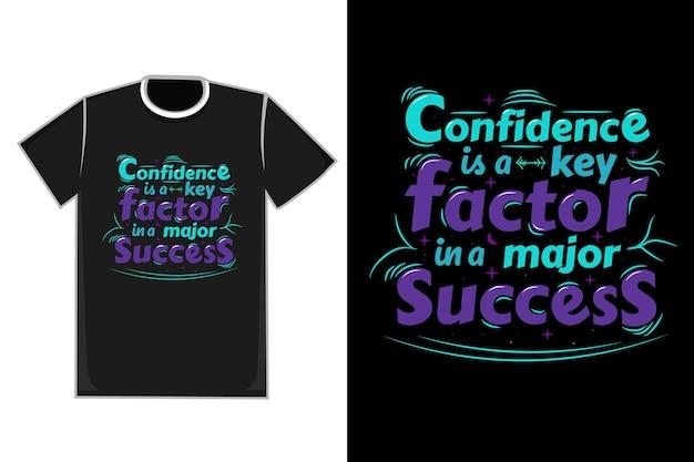 T-shirt title confidence to klucz w jednym z głównych kolorów success - niebieskim i fioletowym
