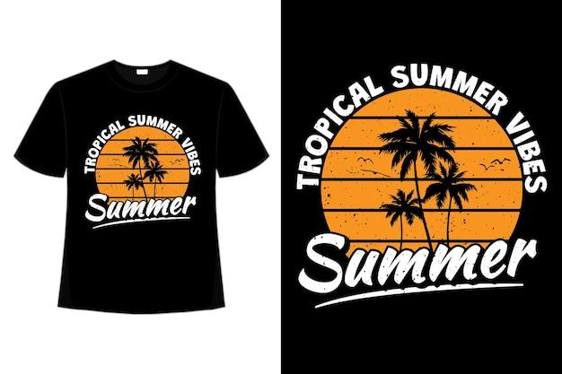 T-shirt tropikalny letni klimat palm plaża niebo w stylu retro vintage