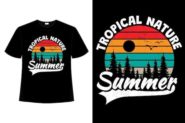 T-shirt tropikalny natura lato sosna w stylu retro vintage