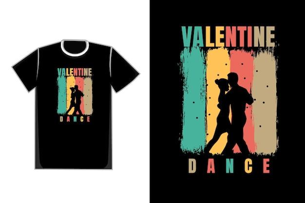 T-shirt Tytułowy Valentine Dance Kolor Niebieski żółty Czerwony I Brązowy Premium Wektorów
