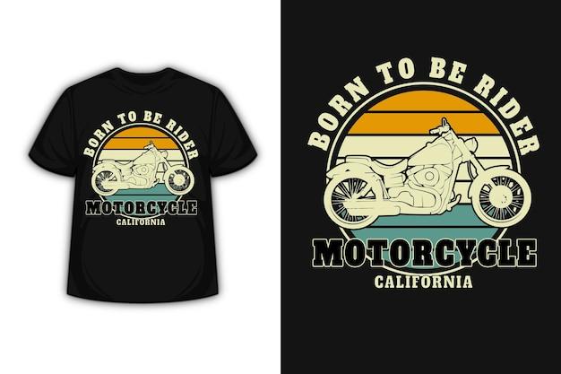 T-shirt urodzony dla motocyklisty kalifornijskiego w kolorze żółto-zielonym