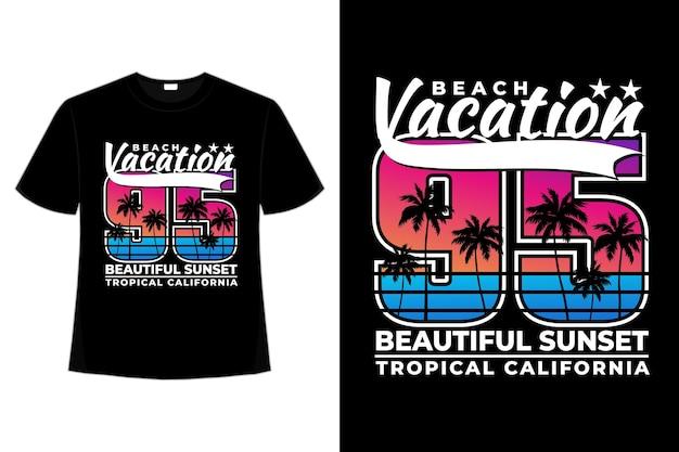 T-shirt wakacje plaża piękny zachód słońca tropikalna kalifornia w stylu vintage