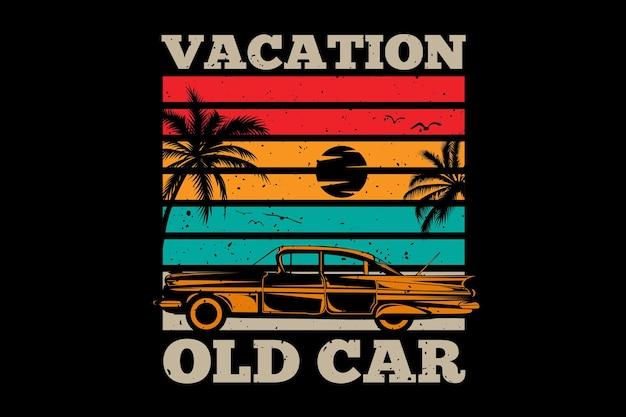 T-shirt wakacje stary samochód palma retro vintage ilustracja