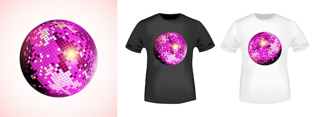 T-shirt z lustrzaną kulą disco
