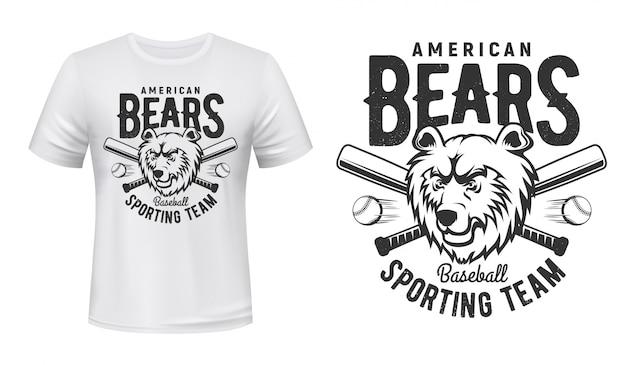 T-shirt z nadrukiem amerykańskiej drużyny sportowej baseballu