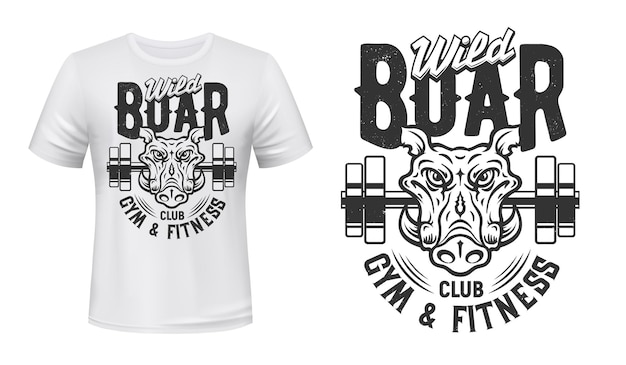 T-shirt z nadrukiem dzika gym fitness sport club