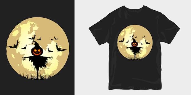 T-shirt z nadrukiem halloween w pełni księżyca